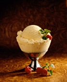 Dish of Vanilla Ice Cream with Raspberry; Mint
