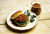 Hamburger on a Bun with Salsa and Lettuce