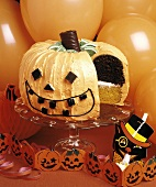 Decorated Pumpkin-shaped Layer Cake