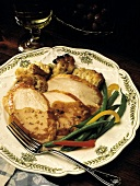 Sliced Turkey with Gravy; Stuffing and Green Beans