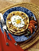 Tostada with Fried Egg and Ground Beef