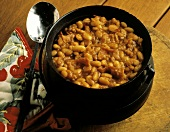 Cast Iron Pot of Baked Beans; Bacon
