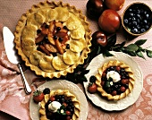 Whole Blueberry Peach Plum Pie; Mini Mixed Berry Pies