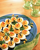 Deviled Eggs on Blue Platter