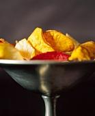Taro Chips in Pewter Pedestal Dish