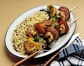 Pork and Vegetable Kabobs on Bed of Rice