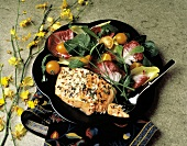 Piece of Herbed Salmon with Colorful Salad