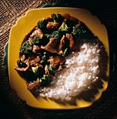 Beef and Broccoli with White Rice