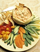 Raw Vegetable Appetizer with Salmon Dip