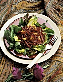 Mixed Greens with Shredded Beets and Walnuts