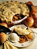 Peach Pie and a Serving with Ice Cream