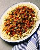 Spaghetti with zucchini tomato sauce