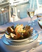 Bowl of Steamed Venus Shells at Waterfront Restaurant