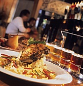 Dinner and Beer Served in a Pub