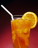 Refreshing Glass of Iced Tea with Sliced Lemon