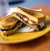 Grilled Cheese Sandwich with Tomatoes; Mushrooms