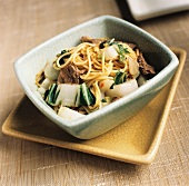 Noodles with Beef and Swiss Chard