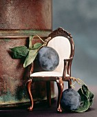 Two Damson Plums; One on a Miniature Chair
