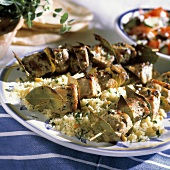 Grilled Tuna Kabobs with Bay Leaves; Bed of Couscous
