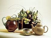 Iced Tea and Hot Tea with Flower Bouquet