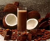 Chocolate Milkshake with Coconut and Almonds
