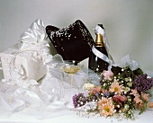 Wedding Gift with Flowers and Champagne