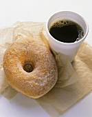Coffee and a Sugared Donut
