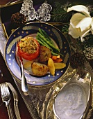 Christmas Dinner Vegetables on a Plate