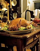Holiday Turkey with Fruit on a Table
