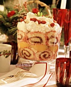 Fruit Trifle With Forks and Plates