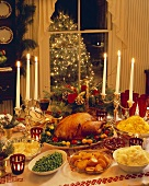 Christams Dinner on a Decorated Table
