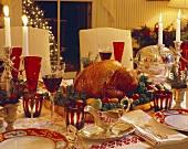 Christmas Table Settings with a Roast Turkey