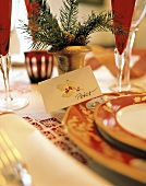 Christmas Table Setting with Place Card