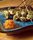 Herbed Chicken Kebabs with Red Pepper Sauce