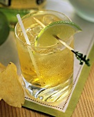 A Glass of Whisky and Ginger with a Lime Slice; Potato Chip