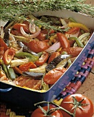 Roasted Vegetables in a Square Dish