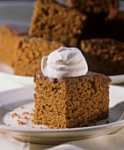 A Piece of Gingerbread with Whipped Cream
