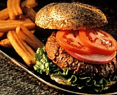 Hamburger on a Poppyseed Bun; Tomatoes