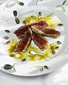 Seared Tuna with Sunflower Seeds on a Plate