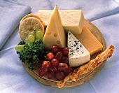 Assorted Cheese with Crackers and Grapes