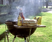 Steaming Grill Outside with Condiments