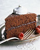 A Slice of Chocolate Raspberry Cake with Whipped Cream