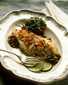 Braised Stuffed Trout with Herb Crust