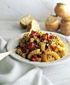 Fusilli con fritto di verdure (Pasta with fried vegetables)
