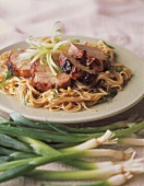 Sliced Pork Tenderloin over Angel Hair
