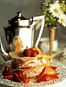 Sweet Wontons with Strawberry Frozen Yogurt; Strawberries