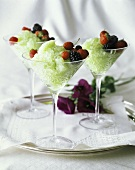 Sorbetto di melone (Honeydew melon sorbet with berries, Italy)