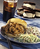 Barbecue Pork Sandwich with Cole Slaw and Potato Salad