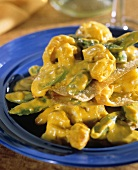 Curried Shrimp with Wontons and Pea Pods