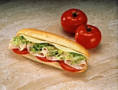Turkey Sub with Lettuce and Tomato